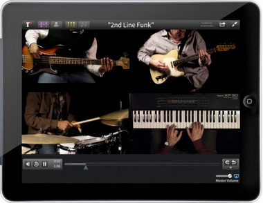 An image of the Tutti Music Player that provides split-screen videos of professional musical performances to practice with.